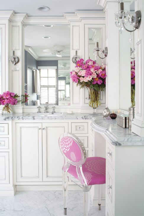 prettiest vanities white carerra marble pink vanity chair