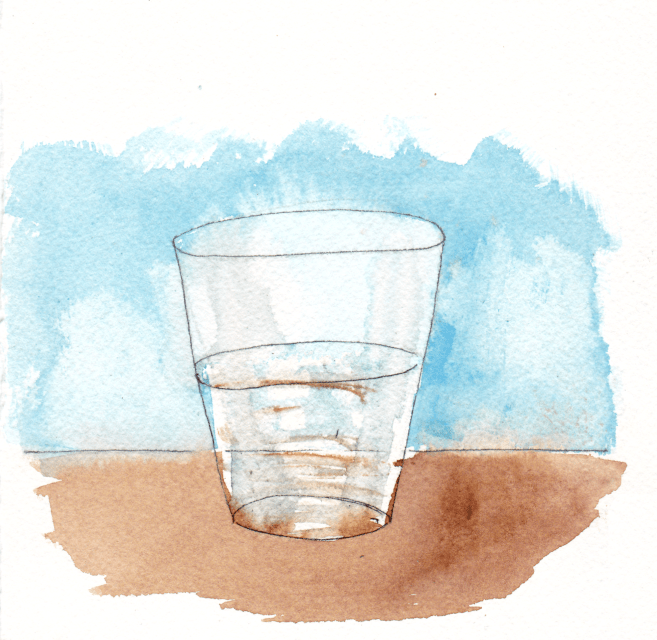 Glass of water, half full