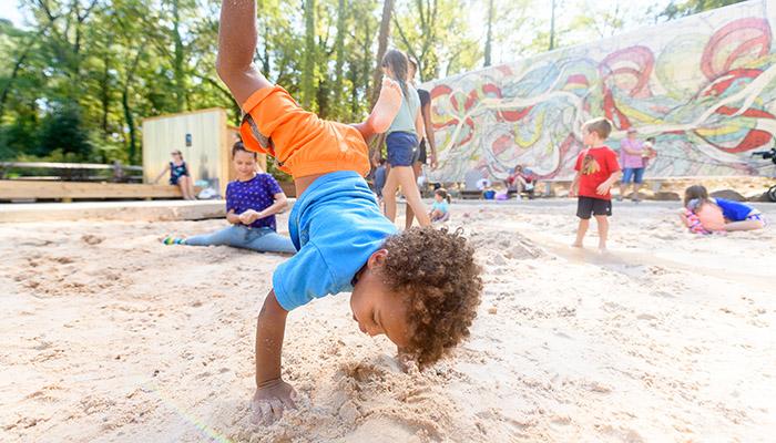 Camper doing a handstand