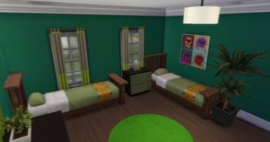 The Boys' Bedroom. Green seems to be their colour though as everything stands out. That Llama painting though is truly funny.
