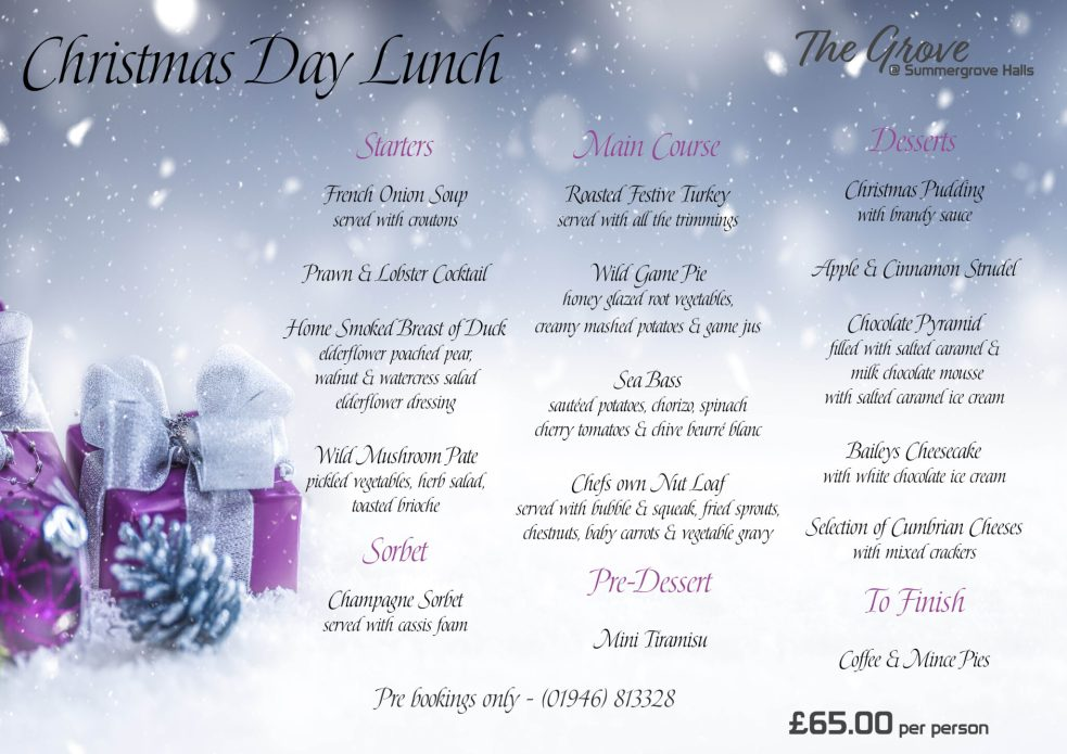 2020 Christmas Day Menu