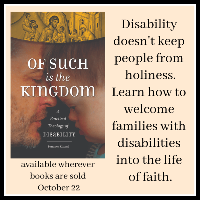 book cover Down syndrome, father child, text theology of disability
