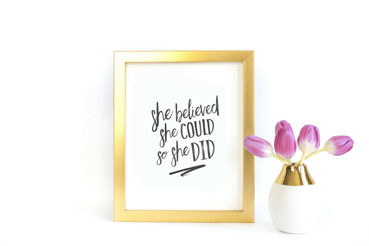 She Believed She Could So She Did Printable Wall Art Summer Mae