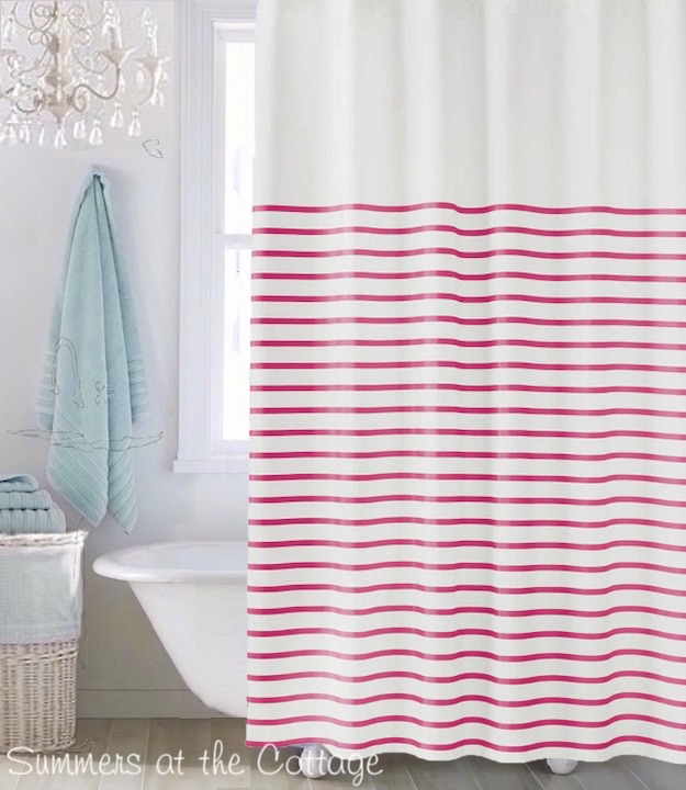 whimsical chic red hot pink stripes white shower curtain