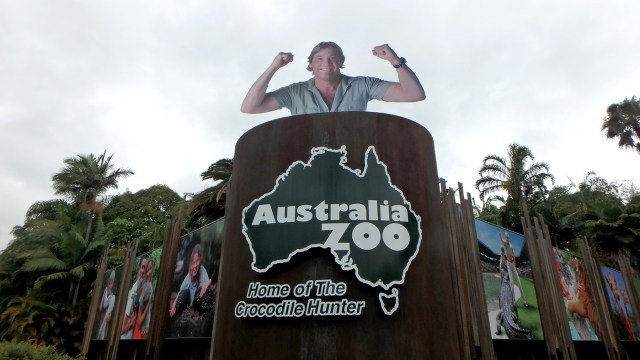 Entrance to Australia Zoo, and a HUGE memorial to the late, great Crocodile Hunter, Steve Irwin