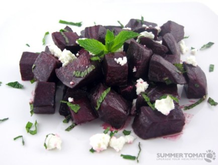 Roasted Beets With Fresh Mint and Chevre (click for recipe)