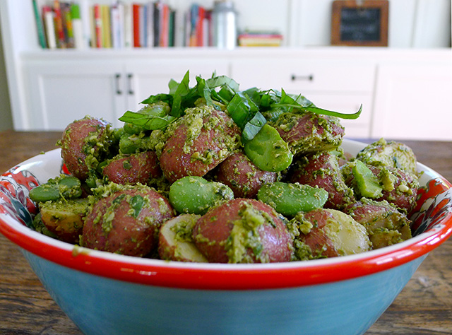 Pesto Potato Salad with Fava Beans