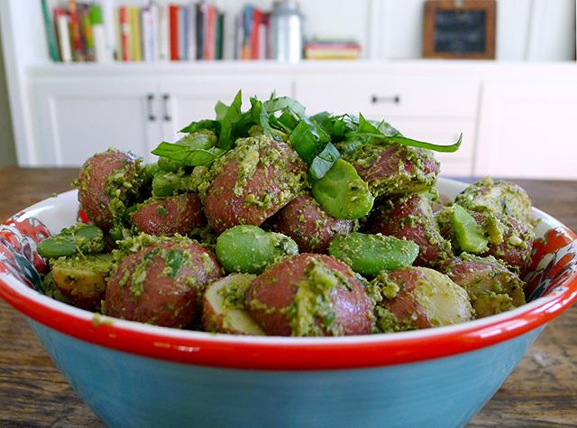 Pesto Potato Salad with Fava Beans