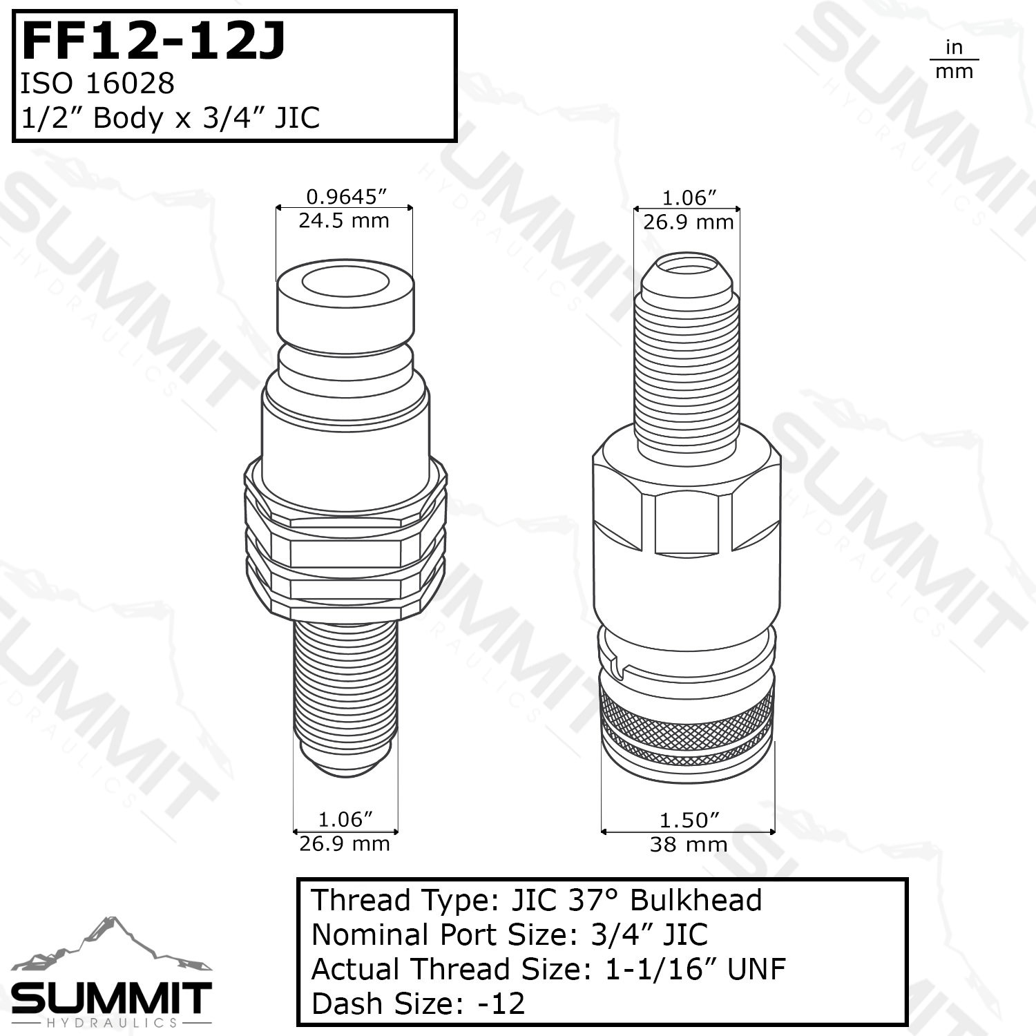 Flat Face Hydraulic Quick Connect Coupler Set 12 Jic