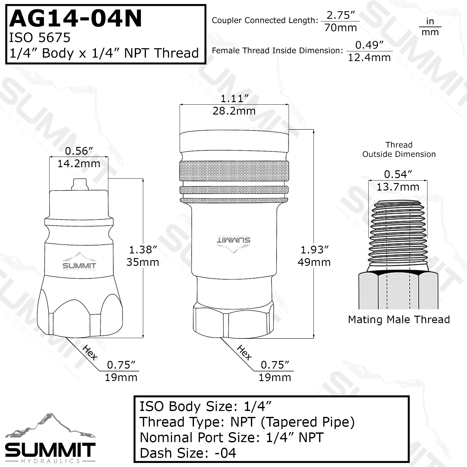 1 4 ag hydraulic quick connect coupler set 1 4 npt thread iso 5675 series