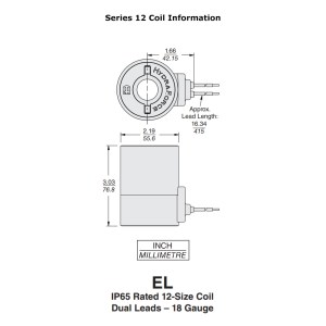 Hydraforce 6852012 Solenoid Valve Coil, Wire Leads, 12v DC