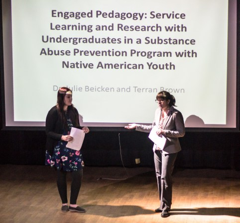 Dr. Julie Beicken and Terran Borwn presenting on substance abuse preventation in Native american youth. Photo by Nicolas Cordero.