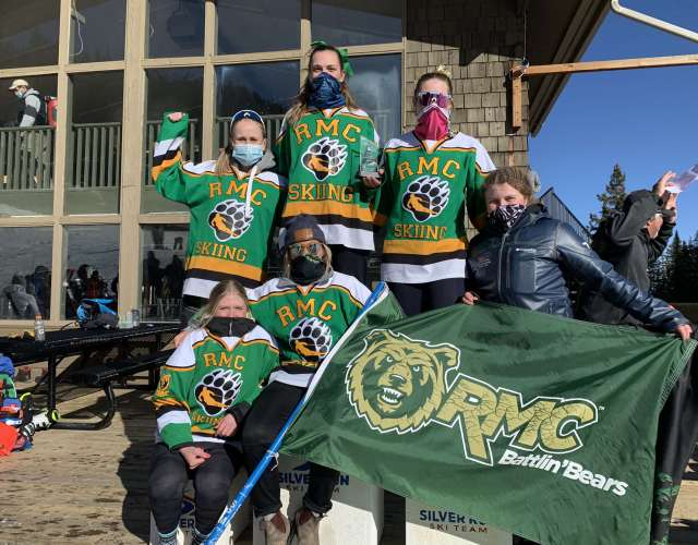 RMC's Lady Bears claiming first place overall award Top Left: Hilde Sato, Sofia Brustia, Sydney Weaver Bottom Left: Emma Hiebert, Larissa Saarel, Jessie King
