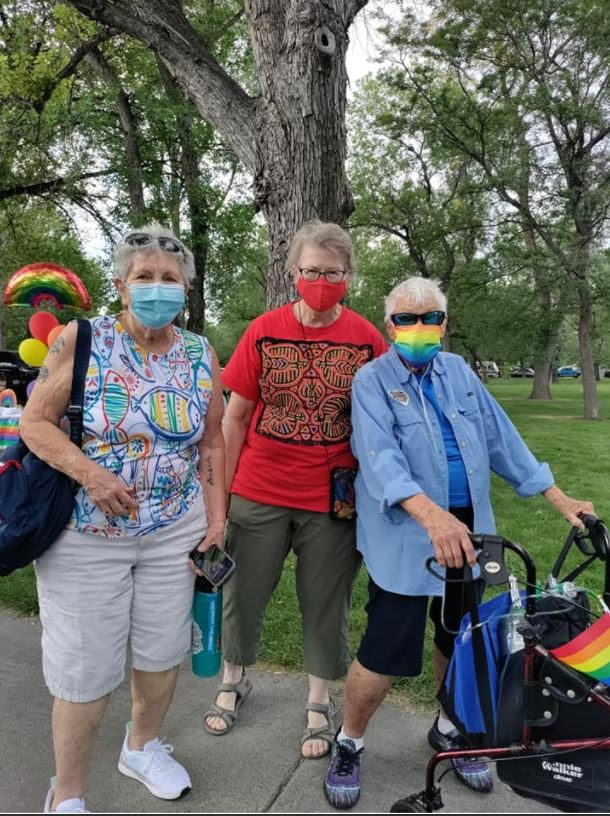 People of all ages and backgrounds, including the three people pictured above, showed their excitement and stance with Billings PRIDE Festival.