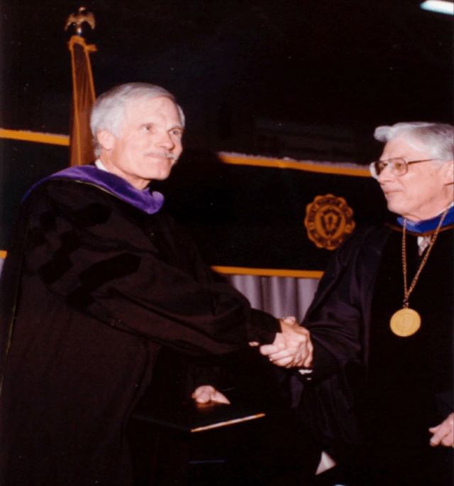 Montana icon Ted Turner received an honorary degree from Rocky Mountain College in 1992. Turner is an entrepreneur, television producer, media proprietor, and philanthropist; he owns a large acreage in Montana and advocates for proper maintenance and care of the state's lands.