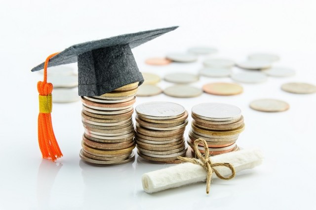Money cost saving or money reserve for goal and success in school, higher level education concept