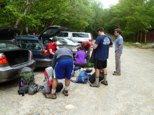 Getting ready to hike into Chimney Pond