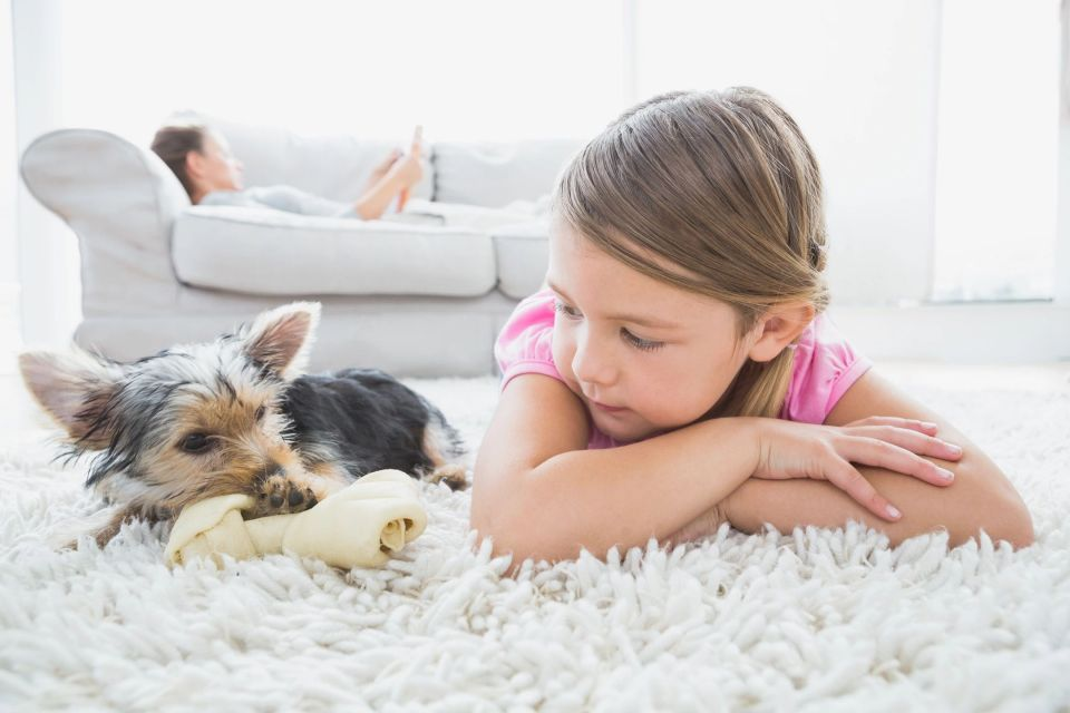 Girl with her dog on the carpet.