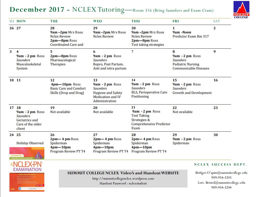 December Nclex Tutoring Room 316 Bring Saunders And Exam Cram Summit College