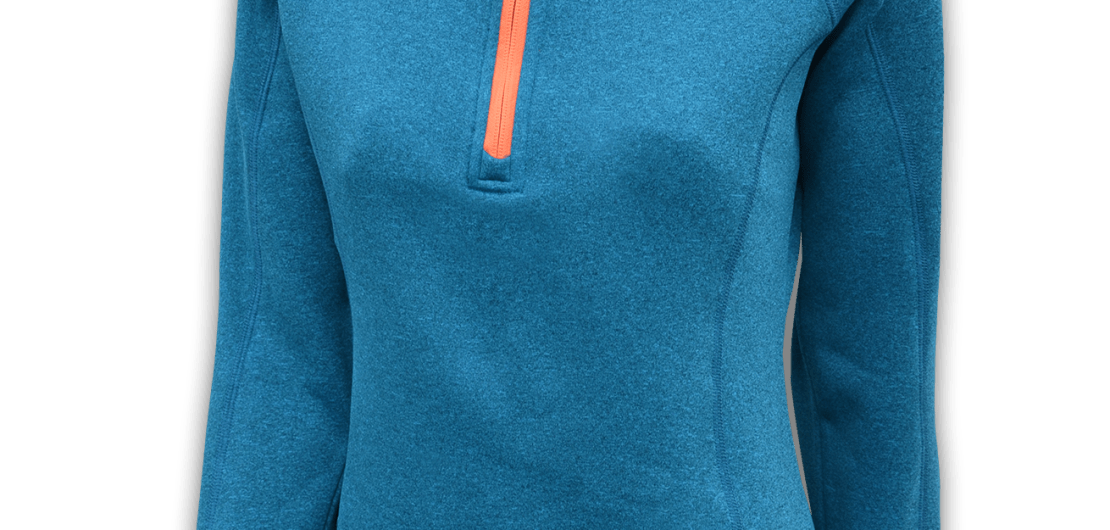 womens-stretchy-fleece-pullover-blue-orange-zipper-summit-edge-outerwear