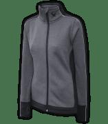 women's fitted jacket, power stretch fleece, gray