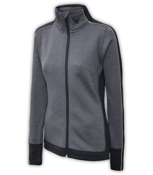 women's fitted jacket, power stretch fleece, gray