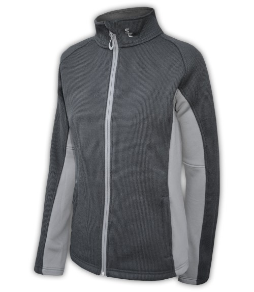 summit-edge-womens-fleece-full-zip-zipper-black-gray-ski-jacket-stand-up collar-pockets outerwear