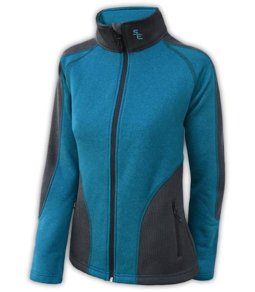 summit-edge-womens-fleece-full-zip-zipper-black-blue-ski-jacket-stand-up collar-pockets outerwear-coarse-weave-power-stretch