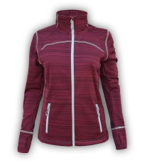summit edge outerwear brand red womens workout jacket, printed, white zipper pockets, collar, thumbholes