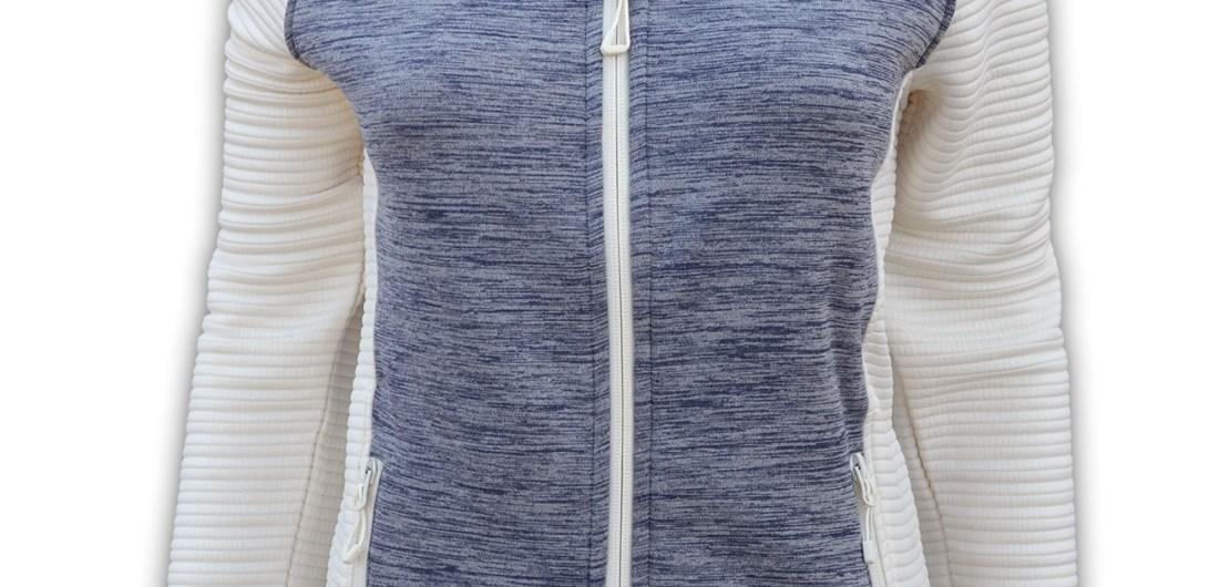 summit edge outerwear brand womens sports jacket, blue white collar, cream, soft comfortable low price