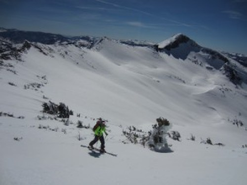 Skiing up to Mt. Agassiz with Pyramid Peak in the backgdrop