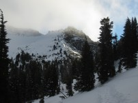 Clouds gathering as we approach the summit bowl