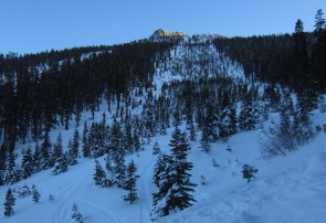 Massive avalanches created these two natural ski runs. Skier's right of the Elevens is more open.