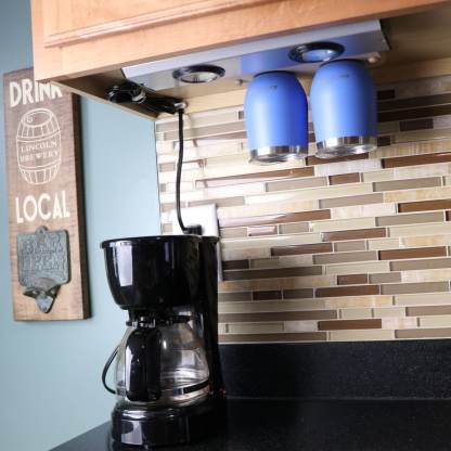 Mount near coffee maker or any other convenient location