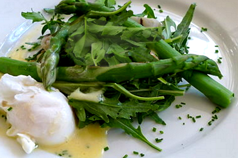 Asparagus Salad Topped with Poached Egg