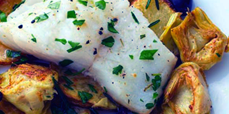 Baked Halibut with Mint Artichoke
