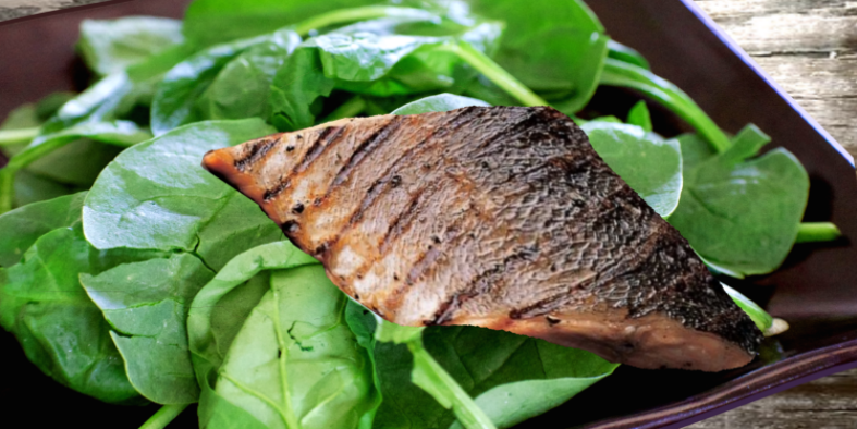 Barbecued Rainbow Trout & Spinach Salad