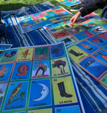 In the first few weeks of quarantine, our family plays a game of giant lotería in our backyard to lighten the mood. PHOTO CREDIT: Analisa Sofia Perez