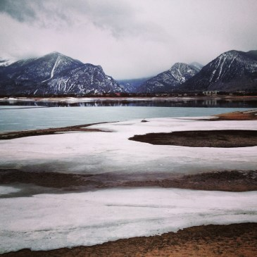 Melting sheets of ice and snow along Dillon Reservoir, May, 2014.