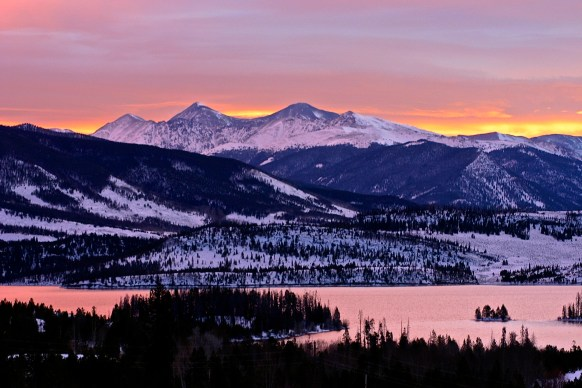 Sunrise glow seen from the I=70 scenic overlook between Frisco and Silverthorne.