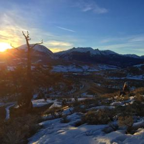 Catching the last rays of the day along the Tenderfoot Trial overlooking the Gore Range and the town of Dillon.