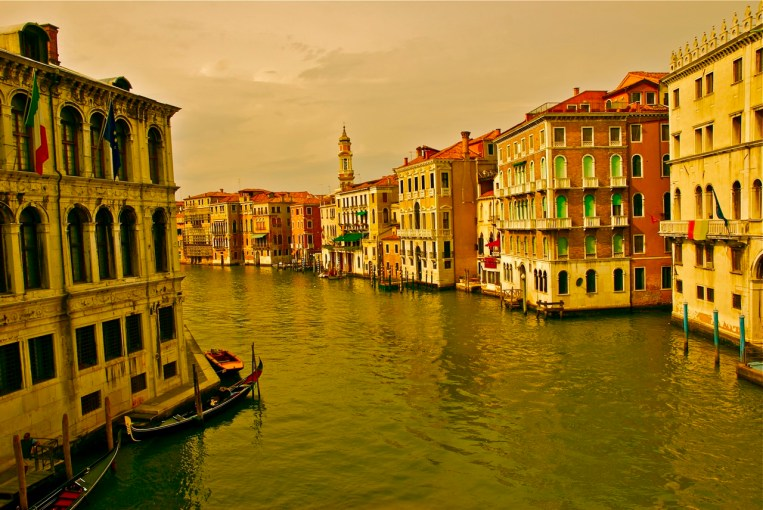The Grand Canal in Venice glowing in evening light, enhanced with a bit of post processing.