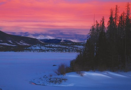 winter sunset in Colorado