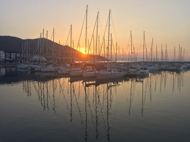 Sunrise in the harbor of Varazze.