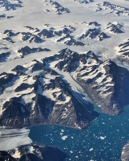 Glaciers melting along the coast of Greenland.