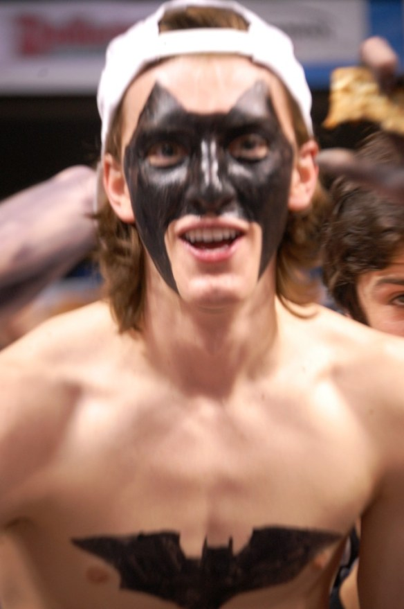"A ""Batman"" from CovCath during the seminfinal game"