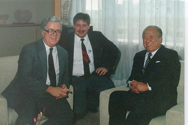 Thanks to my time as a missionary I worked in Japan.  Here I am with then British Foreign Minister Sir Geoffrey Howe and Oita Prefecture Mayor Morihiko Hiramatsu