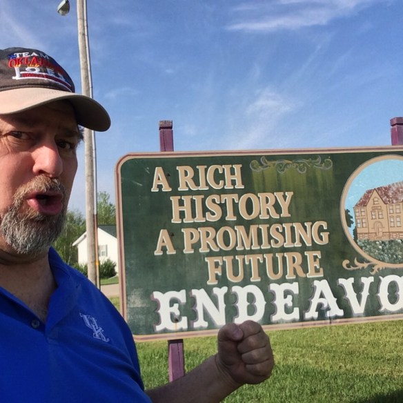 I always endeavor to find unique places for selfies and just for a visit.  This was Endeavor, WI in May 2014