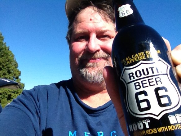"With a bottle of ""Route Beer"" at Rabbit Ranch in Staunton, IL in August 2013"