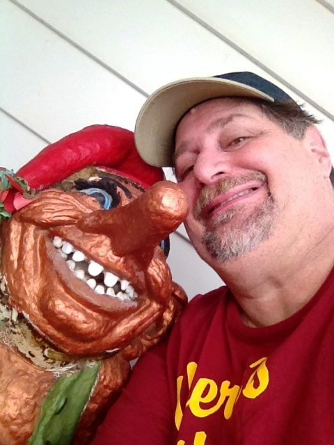 Cuddling with a troll in Mt. Horeb, WI in August 2012